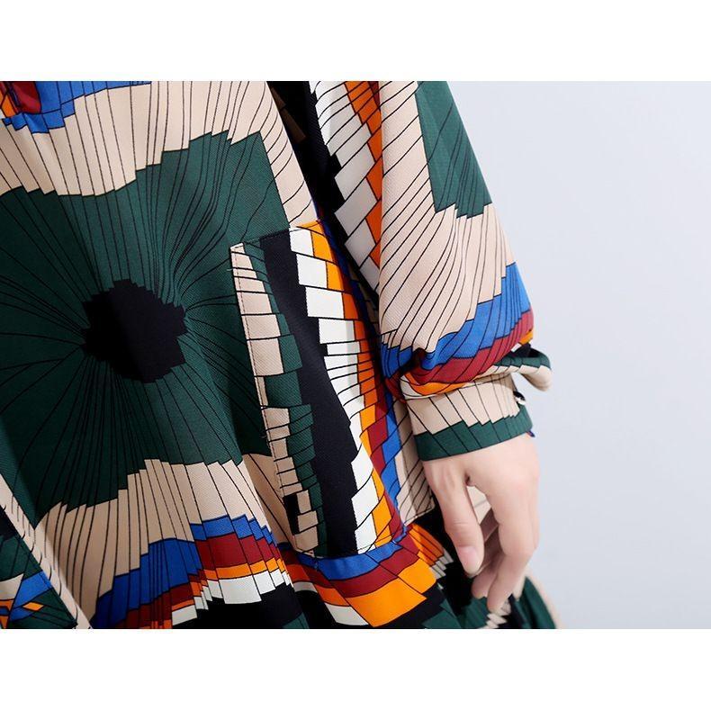 レディース ワンピース 幾何学模様 長袖 グリーン系 ボルドー系 フリーサイズ|elaine-girl|10