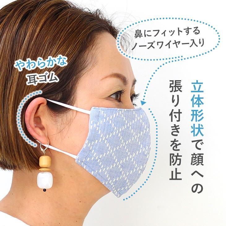 日本製 洗える布マスク レディースマスク 女性用マスク おしゃれ 抗菌防臭 ムレにくい コットン リバーシブル|eld-chic|02