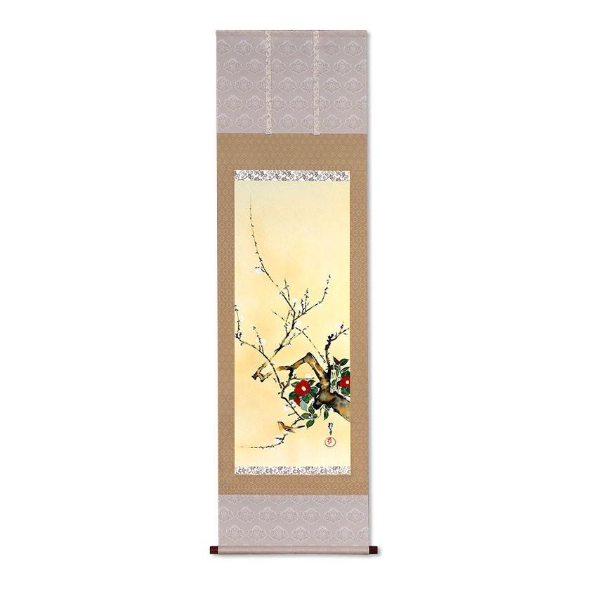 酒井抱一 作品 十二か月花鳥図 一月 梅椿に鶯図 掛軸 掛け軸 - アートの友社