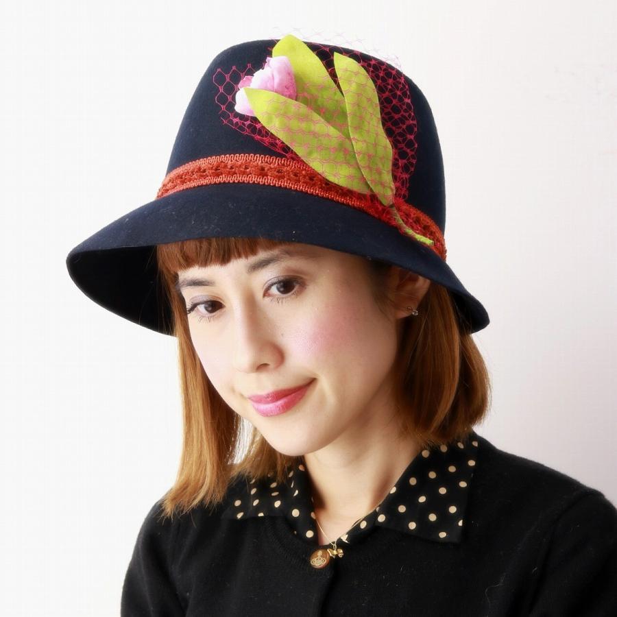 レディース フェルト ハット バラ色の帽子 チューリップハット クロシェハット コサージュ エレガント 帽子 送料無料 Barairo no Boushi ネイビー