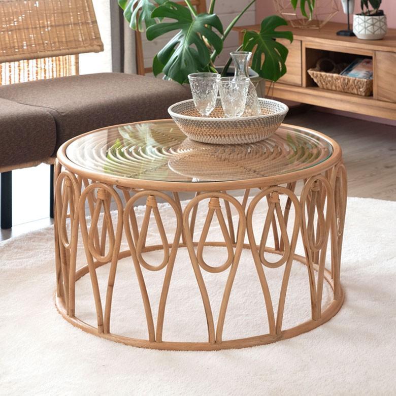 テーブル ラタン の ロー