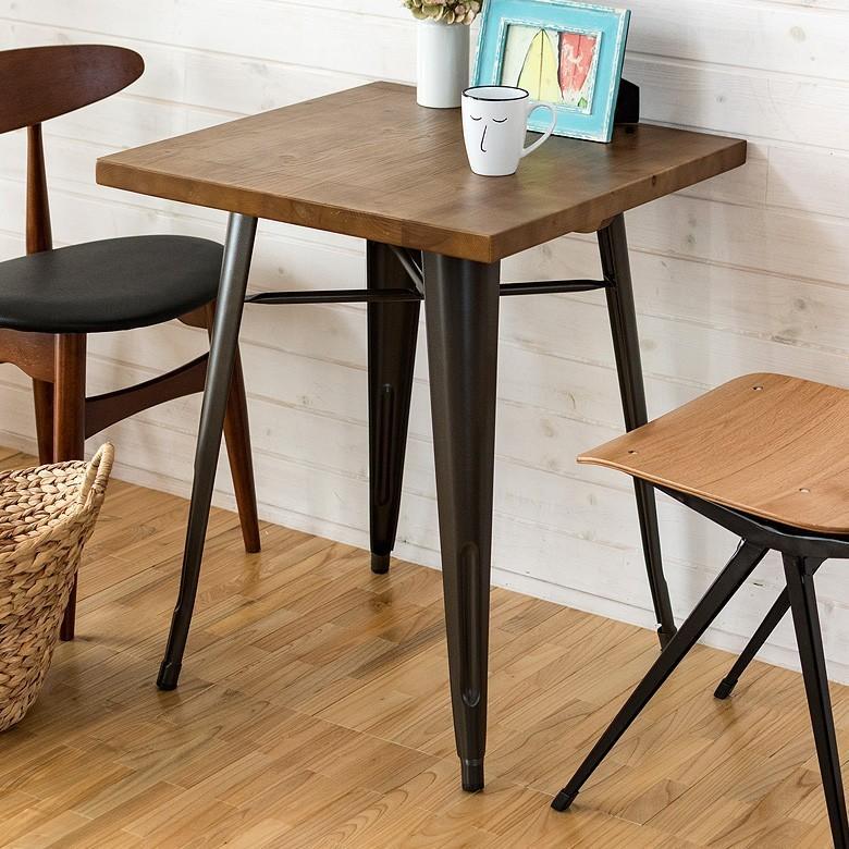 ダイニングテーブル 二人掛け 正方形 キッチンテーブル カウンターテーブル おしゃれ ブラウン 木製 天然木 ワンルーム ワンルーム 台所 キッチン レトロ