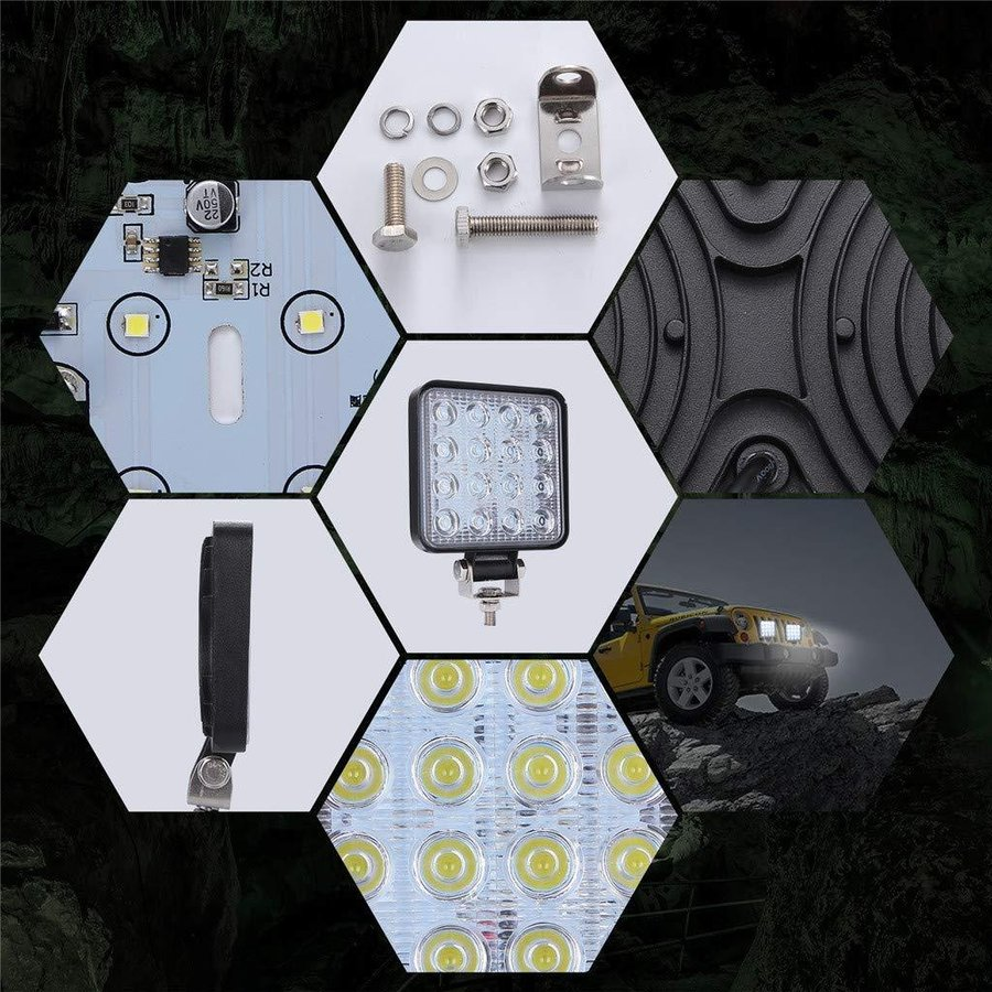LED作業灯 ワークライト4台 ト48W 投光器 LED投光器4台セット elexparts 08
