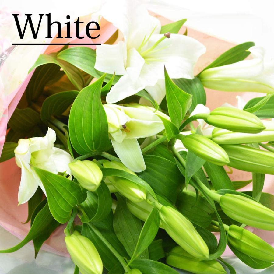 カラーが選べる ボリューム満点 オリエンタルユリの花束 5本 20輪以上 花 誕生日 還暦 退職 結婚 プレゼント 贈り物|elfleur|02