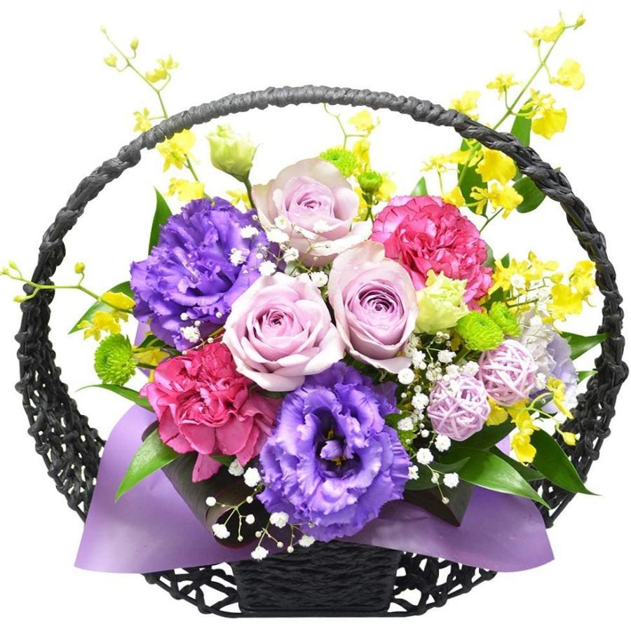 和風アレンジメント 紫月(さいげつ) お花の延命剤付 喜寿 古希 還暦 祝い 誕生日 プレゼント アレンジフラワー 敬老の日 ギフト 花|elfleur
