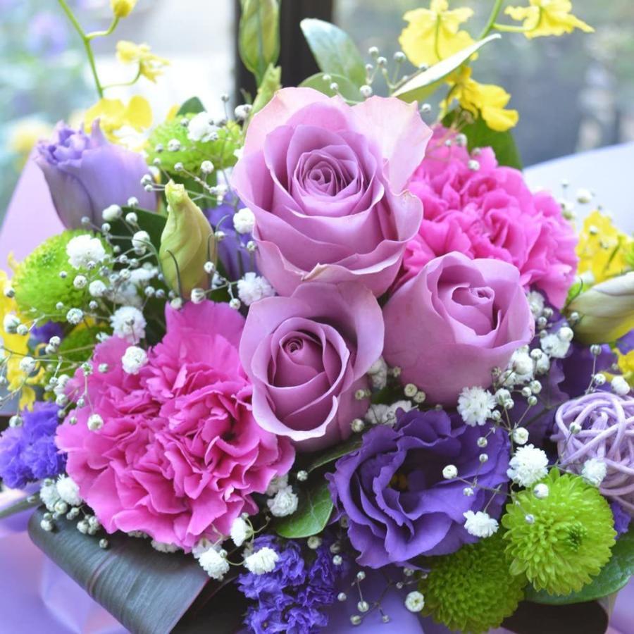 和風アレンジメント 紫月(さいげつ) お花の延命剤付 喜寿 古希 還暦 祝い 誕生日 プレゼント アレンジフラワー 敬老の日 ギフト 花|elfleur|02