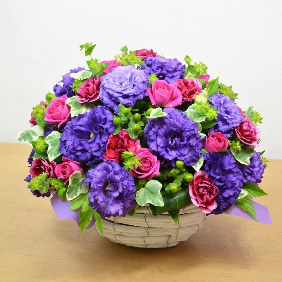 紫を基調とした ボリュームアレンジメント お花の延命剤付 誕生日 結婚祝い お祝い フラワーギフト プレゼント 贈り物 古希|elfleur|02