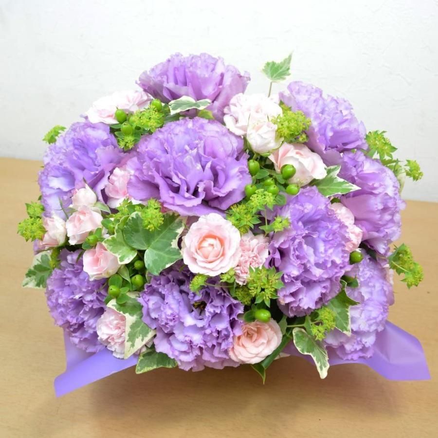 紫を基調とした ボリュームアレンジメント お花の延命剤付 誕生日 結婚祝い お祝い フラワーギフト プレゼント 贈り物 古希|elfleur|03