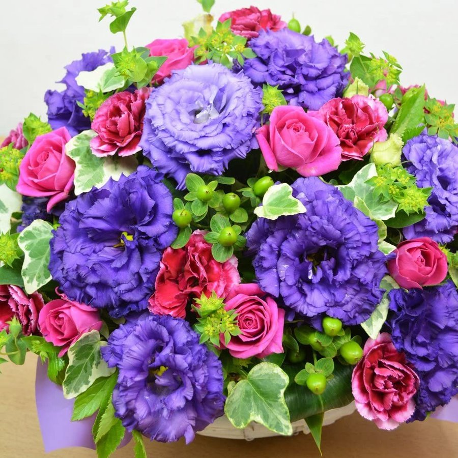 紫を基調とした ボリュームアレンジメント お花の延命剤付 誕生日 結婚祝い お祝い フラワーギフト プレゼント 贈り物 古希|elfleur|04