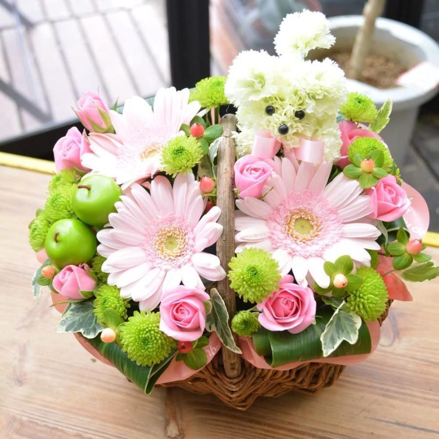生花 お供え用、プレゼント用にも プードル付アレンジメント お花の延命剤付 贈り物 ペット elfleur 02