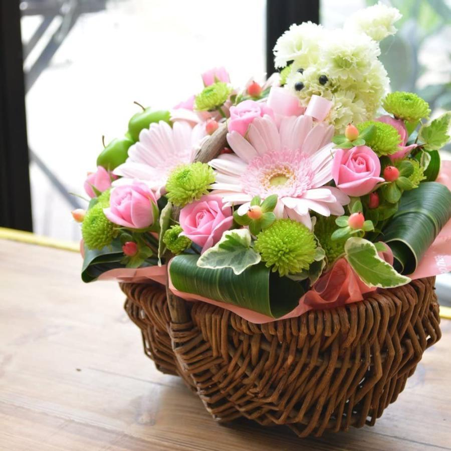生花 お供え用、プレゼント用にも プードル付アレンジメント お花の延命剤付 贈り物 ペット elfleur 03