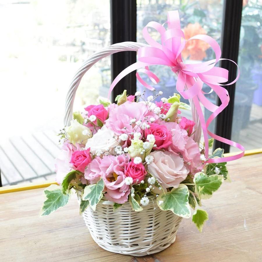 カラーが選べるトルコキキョウ 白バスケットアレンジメント お花の延命剤付 花 ギフト 贈り物 プレゼント 誕生日 古希|elfleur|02