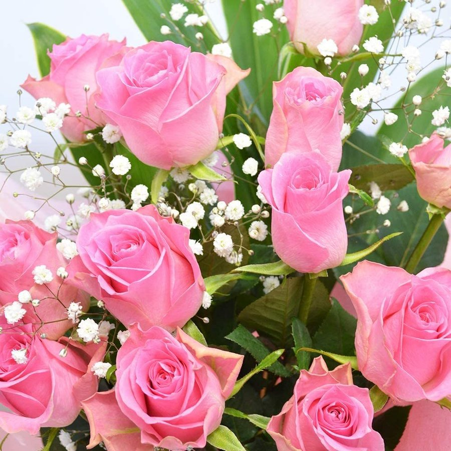 ピンクバラ ボリュームスタンディングブーケ 花束 プレゼント 贈り物 バラ アレンジ elfleur 02