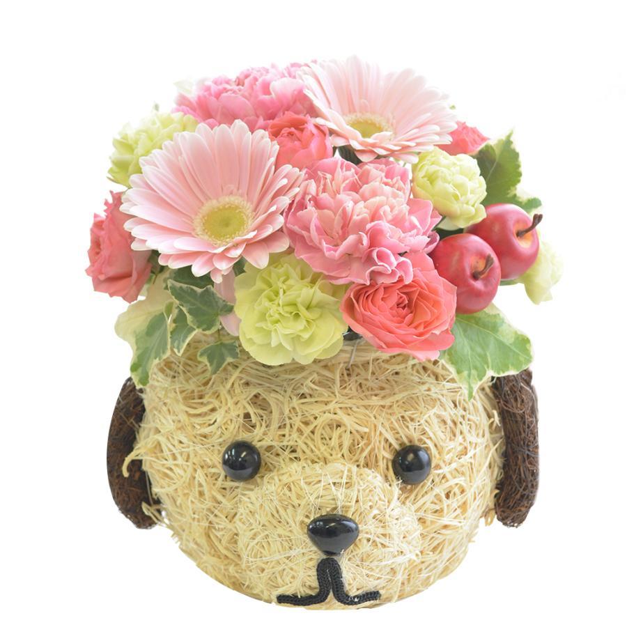 花 ドッグデザインバスケット アレンジメント バラ カーネーション  フラワーギフト クリスマス 誕生日プレゼント 贈り物 犬|elfleur|02