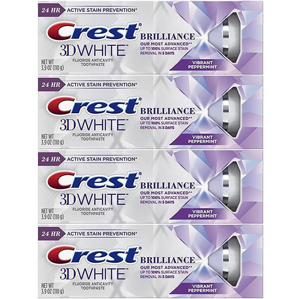 お得な 3本セット クレスト Crest 3Dホワイト 歯磨き粉 ブリリアンス バイブラント 予防 ステイン 税込 オーラルケ 110g ホワイトニング ペパーミント 除去 お気にいる