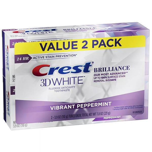 2個セット クレスト Crest 3Dホワイト 歯磨き粉 ブリリアンス バイブラント ペパーミント ステイン 現金特価 110g 除去 予防 ホワイトニング オーラルケ 往復送料無料