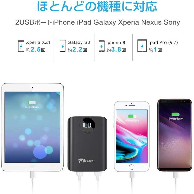 モバイルバッテリー 大容量 超小型 充電器 軽量 10000mAh 大容量 2A急速充電 薄型 2USBポート 2台同時充電 PSE認証済(d28)|elsies|06