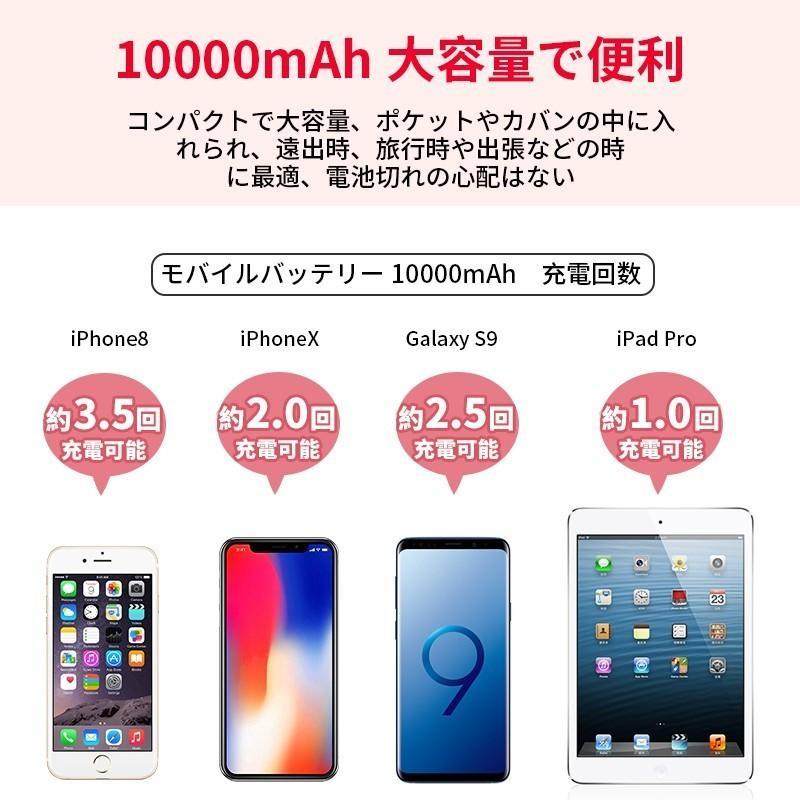 モバイルバッテリー Mini 大容量 薄型 軽量 10000mAh ケーブル内蔵 携帯充電器 コンパクト 急速充電 スマホ充電器 二台同時充電 LED iPhone 11 Android(d30) elsies 19