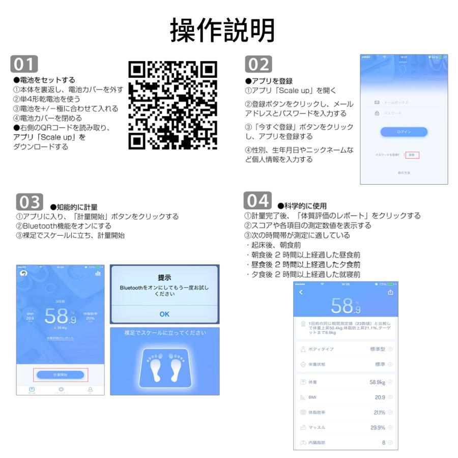 体重計 体組成計 スマホ連動 体脂肪計 日本語説明書 高精度 体脂肪率 基礎代謝量 Bluetooth接続  筋肉量 BMI値 体内水分 健康管理 ヘルスメーター送料無料(tzc)|elsies|14