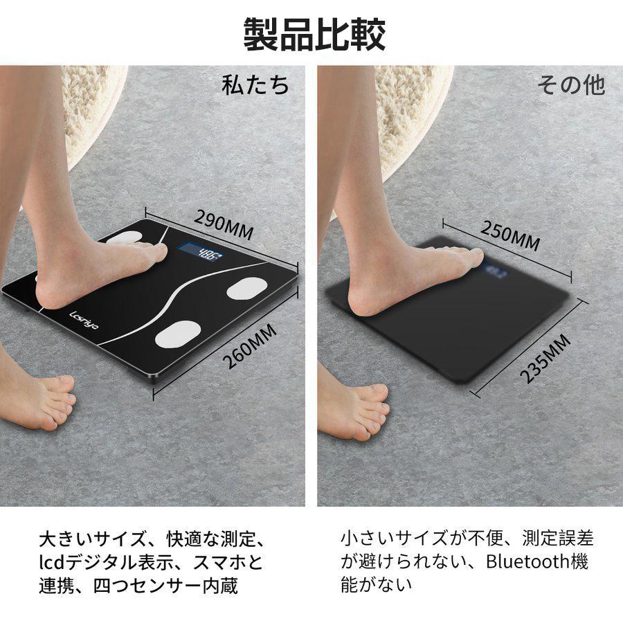 体重計 体組成計 スマホ連動 体脂肪計 日本語説明書 高精度 体脂肪率 基礎代謝量 Bluetooth接続  筋肉量 BMI値 体内水分 健康管理 ヘルスメーター送料無料(tzc)|elsies|05