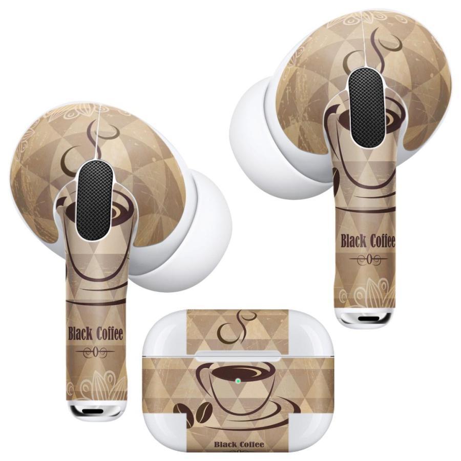 Air Pods Pro 専用 デザインスキンシール 対応 airpodspro エアポッドプロ apple アップル イヤフォン イヤホン  コーヒー 模様 ブラウン 002693 emart