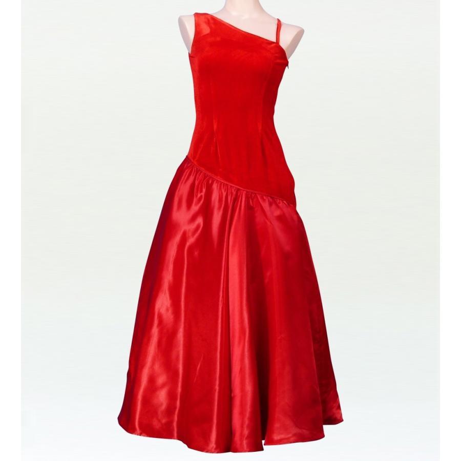 フラダンス ワンショルダー ベルベット・シャンタン斜め切り替え ドレス レッド Sサイズ 1422rS