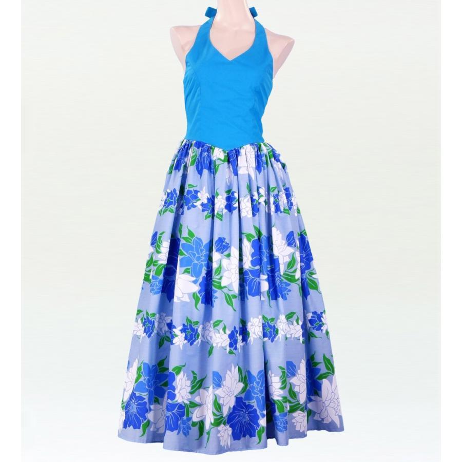 フラダンス ムームー ホルターネックドレス ブルー Fサイズ 1630blF