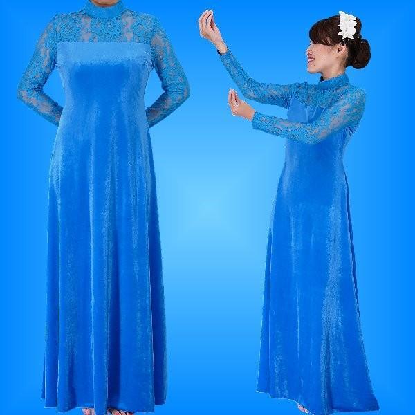 フラダンス レースベルベットロング丈 ドレス ブルー LLサイズ 2009blLL