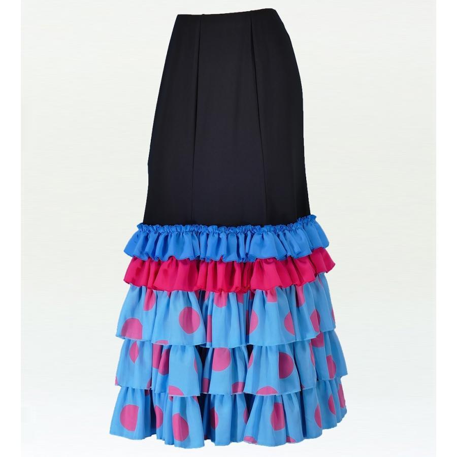 フラメンコ 水玉 フリル セミマーメイド ファルダ スカート ブルー×ピンク フリーサイズ 2036blpi