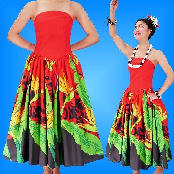フラダンス ムームー ストラップレス ミディ丈ドレス レッド Fサイズ 2090rF