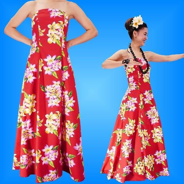 フラダンス ムームー ストラップレス ロング丈ドレス レッド LLサイズ 2093rLL