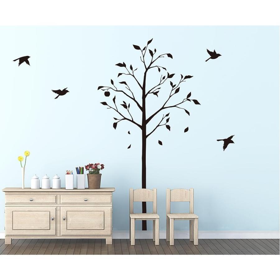 東京ステッカー ウォールステッカー 転写式 林檎の木と小鳥 ブラック Sサイズ TS-0051-AS同梱不可