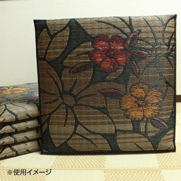 純国産 袋織 織込千鳥 い草座布団 『なでしこ 5枚組』 ブラック 約55×55cm×5P 3127550同梱不可