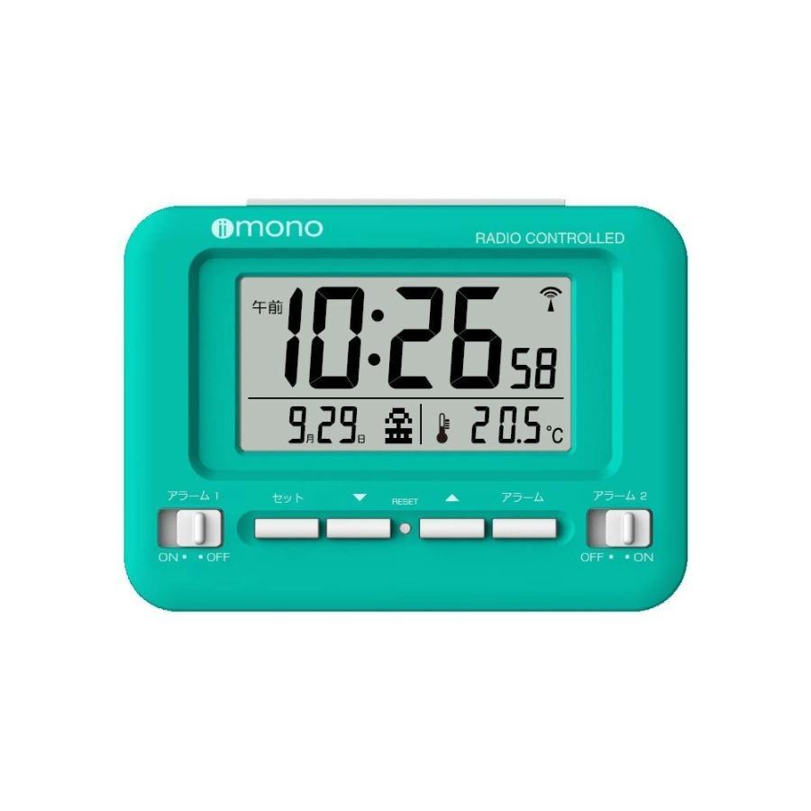 目覚まし時計 電波 デジタル カレンダー 温度 スヌーズ ホワイト ブルー レッド グリーン イエロー|empire|05