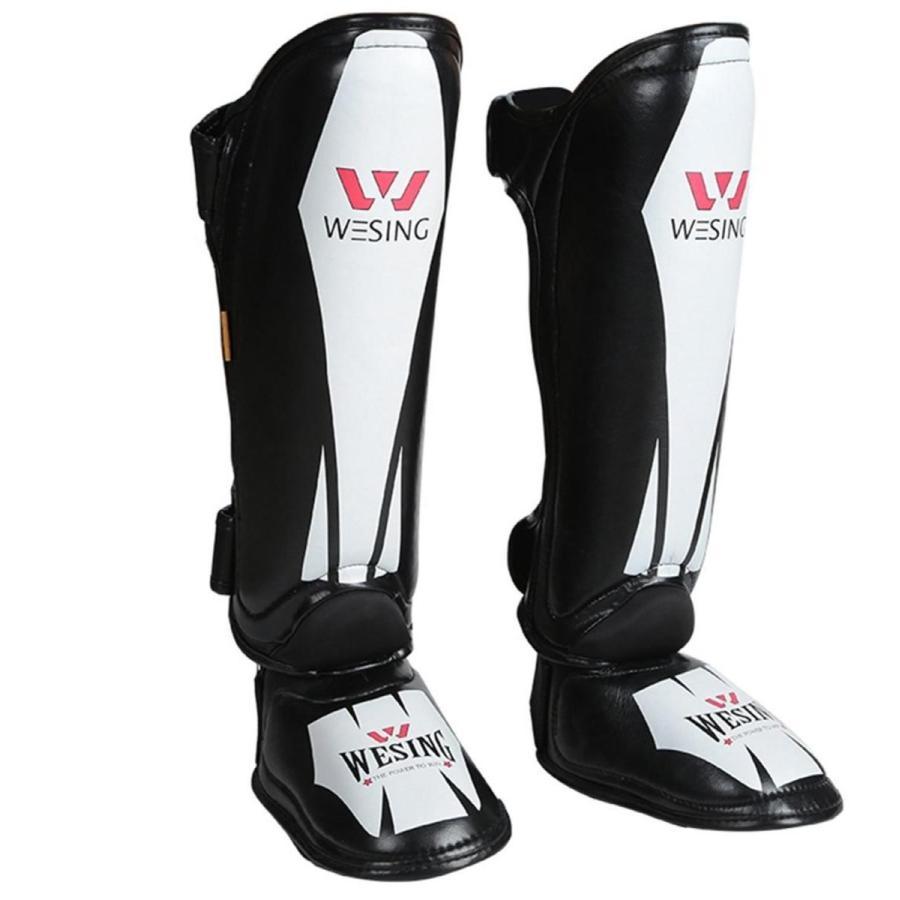 プロテクターWesing MMA 新甲ガード脚パッド保護ムエタイすねガードボクシングトレーニングキックボクシング 黒白い fiber S