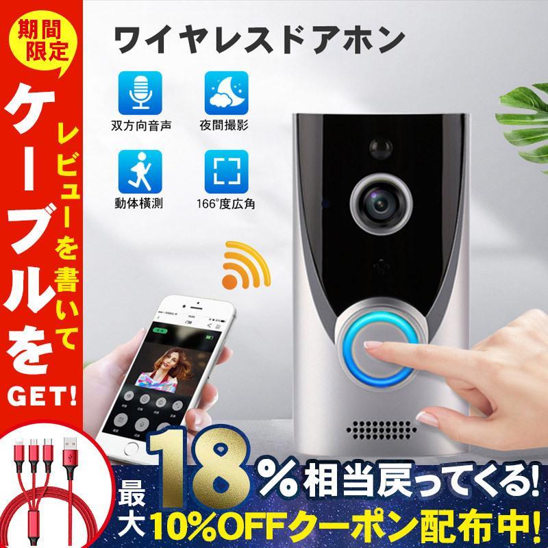 電子版日本語説明書 有名な テレビドアホン 録画機能 受賞店 インターホン スマホ遠隔通知 ワイヤレスドアホン 暗視 防犯カメラ 双方向 Wifi ネットワークインターホン 電池式