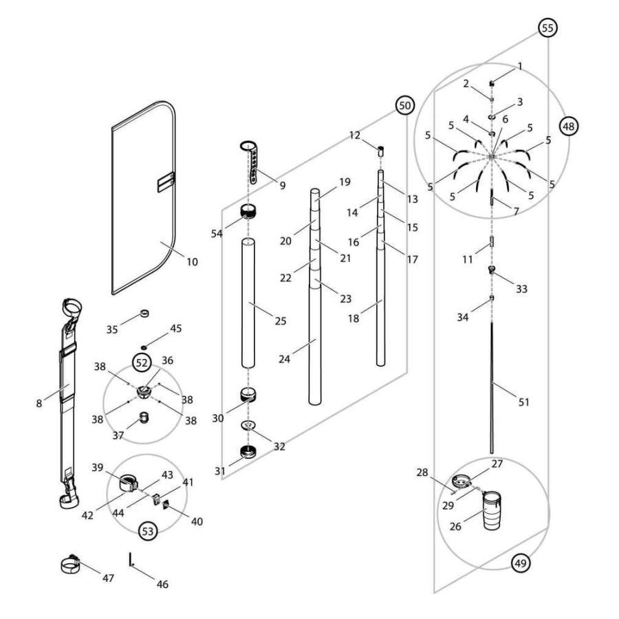【部品】 シャフトセット GM (39983) パーツNo.50 [第一精工 オートキングギャフ550X ガンメタ]