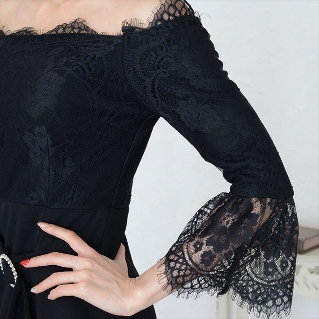 オフショルレースミニワンピースドレス|ener|10