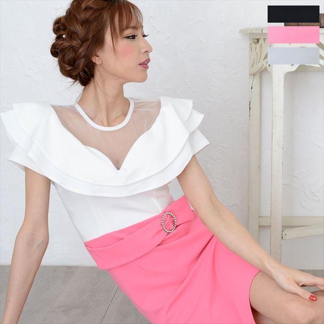 シースルーフリルミニワンピースドレス|ener