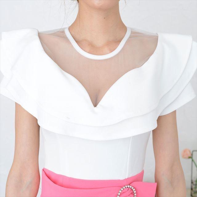 シースルーフリルミニワンピースドレス|ener|09