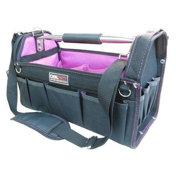 (業務用5個セット) DBLTACT DBLTACT オープンキャリーバッグ(ツールバッグ) 撥水加工 DT-SRB420H 420mm ムラサキ 〔DIY用品/大工道具〕商工会会員店です