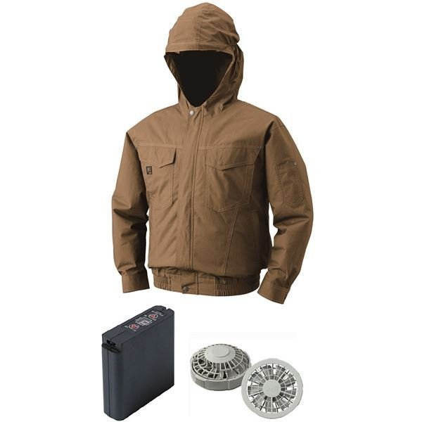 空調服 フード付綿薄手空調服 大容量バッテリーセット ファンカラー:グレー 1410G22C20S4 〔カラー:キャメル サイズ:2L〕商工会会員店です