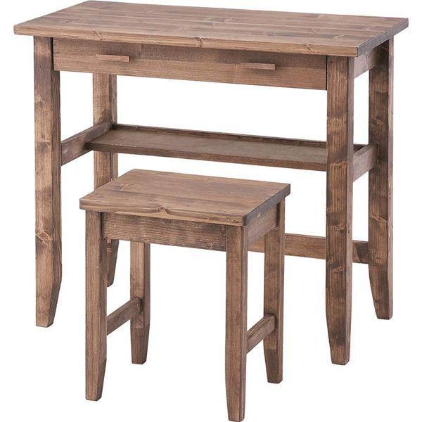 デスク&チェア2点セット 木製(天然木) 引き出し/棚付き 木目調 CFS-843商工会会員店です