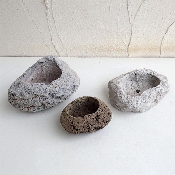 山野草鉢:さつま軽石鉢 出群 3個セット S 誕生日 お祝い Lサイズ M