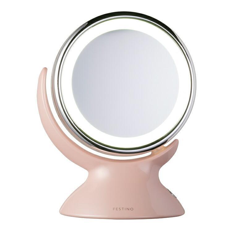 クーポン使用不可 ミラー フェスティノ アラウンド LED ミラー ピンク/ホワイト LEDライト 360度回転 等倍 5倍拡大鏡 かがみ 2way メイク 白昼色 enteron-shop2 02