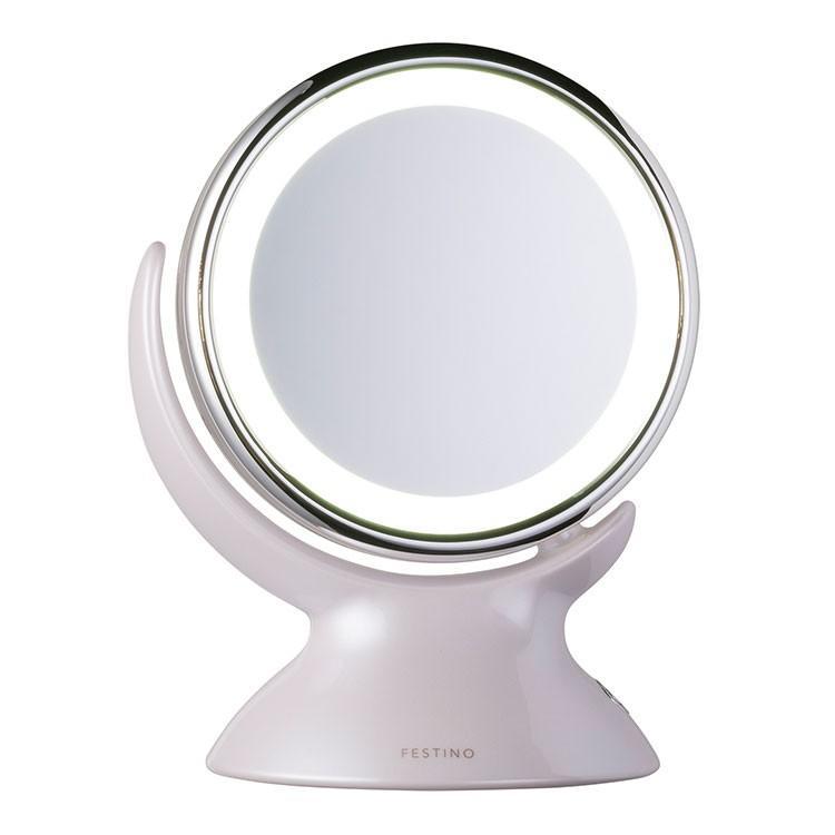 クーポン使用不可 ミラー フェスティノ アラウンド LED ミラー ピンク/ホワイト LEDライト 360度回転 等倍 5倍拡大鏡 かがみ 2way メイク 白昼色 enteron-shop2 03