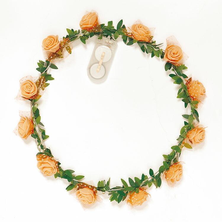 ヘッドドレス 花冠 光る ELEX 光る花かんむり ホワイト/オレンジ/ピンク/ラベンダー フェス 夜 パーティー 結婚式 二次会 コンサート 夏フェス 帽子|enteron-shop2|06