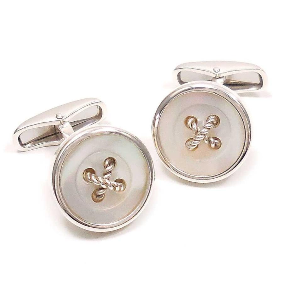 カフスボタン カフリンクス シルバー925 丸型ボタン風 白蝶貝 イタリア製 ベルフィオーレ メンズ 父の日 プレゼント ギフト entiere