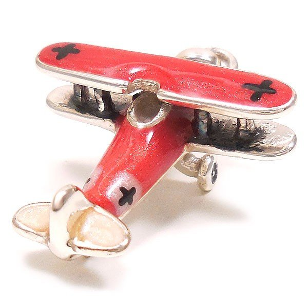 チャーム ペンダントトップ シルバー925 飛行機 複葉戦闘機 レッド イタリア製 サツルノ レディース メンズ|entiere|03