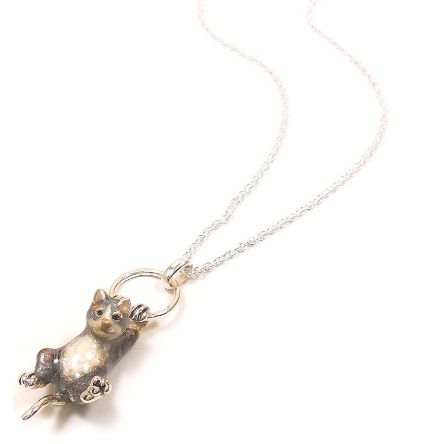 ネックレス ペンダント シルバー925 ぶら下がり猫 サバトラ ネコ レディース プレゼント ギフト entiere 02